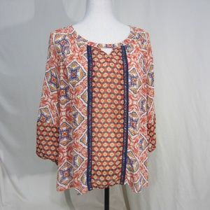New Directions Size Med Bright Print Top